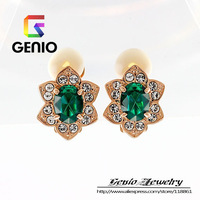 GN C010 Italina18K Gold Plated Petal without pierced ear clip Made with Genuine SWA ELEMENTS Austria Crystals