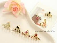 Wholesale E638 a Coke Korean jewelry cute diamond stud earrings female English KISS 4 color into 10pairs/lots