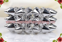 three row silver color Punk Style Spike Hedgehog Rivet Bracelet, Fashion Stretch Adjustable Rivet Spike Bracelet