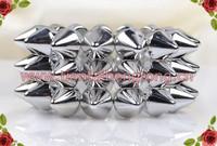 three row silver color Punk Style Spike Hedgehog Rivet Bracelet, Fashion Stretch Adjustable Rivet Spike Bracelet