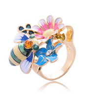 Min.order $10 mix order Fashion colorful painting bee flower ring Free shipping
