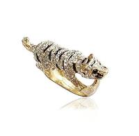 Sheegior Min.order $10 mix order New fashion full drill golden plated running tiger women rings Free shipping