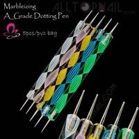5pcs 2way Nail Art Pen Dotting Tools Marbleizing Dotting Pens Professional Nail Art Rhinestones Gems Picking Tools-Free Shipping