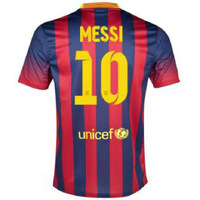 2014 season MESSI Home Blue and Red Soccer Jersey +Player Version,13/14 Thailand Quality Soccer Jersey with TV3+Free Shipping