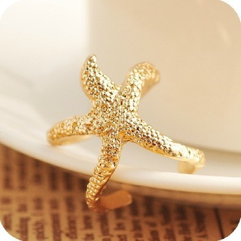 Fashion gold starfish  rings Free shipping Min.order $10 mix order