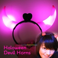 New Pink Haloween Devil Horns LED Flash Light Weight