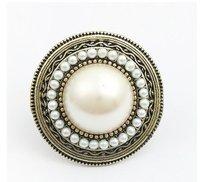 Sheegior Min.order $10 mix order Fashion elegant simulated-pearls Big Plat women ring Free shipping