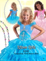 Hot Selling Spaghetti Off-shoulder Shining Beads Crystal Tiered Organza Girls Pageant Dresses F425