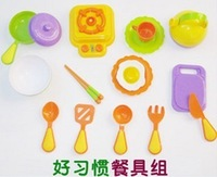 Kitchen utensils tableware play house pretent toys, 15 pieces of environmental protection material