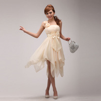 New Hot 2013 Women's Chiffon Short Design Bow Evening Dress Ladies Oblique Evening Bride Dress Fashion Brand Design Dress JS902