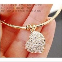 Min. order $9 Brief kid full rhinestone heart cutout carved bracelet gold silver two-color bracelet SL006
