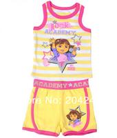 Free shipping NWT kids summer vest clothing the explorer dora stripe vest + short pant, MOQ:4 sets
