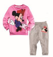 Girl's Cartoon Minnie design Cotton Pajamas set Children Sleepwear 6 sets/lot Free Shipping 2 3 4 5 6 7Y