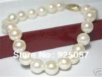 "Charming! 8-9mm Genuine Akoya White Pearl Bracelet 7.5""Fashion jewelry"