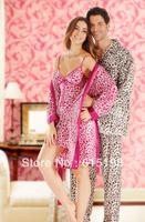 1pcs/lot sleepwea Home furnishing silk long-sleeve men women pajamas rose lovers leopard print Nightclothes size M/L/XL SY002