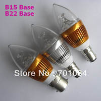 3X1W B22 B15 Base LED Candle bulb Epistar LED Candle light / Dimmable B22 B15 CE&ROHS / AC85V~265V Free Shipping ChinaPost