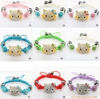 free shipping Handmade Crystal Beads Children Baby Kids Bracelets Hello Kitty Shamballa Bracelets Bangles wholesale Charm