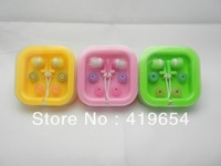 Lovely 3.5mm Inear Colorful Stereo Earphone Headset Headphone With Crystal Box 50pcs/lot Post Free Shipping