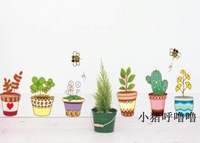 The third generation wall stickers tv wall stickers wallpaper combination window stickers potted plant