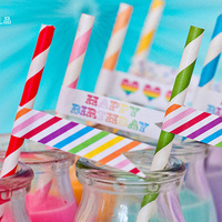 Wholesale 143 colors Eco-friendly Party Striped Chevron and Polka Dot Drinking Paper Straws -2500Pcs/Lot Free Shipping By EMS
