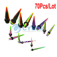 70Pcs/Lot Strip Color Acrylic Ear Taper Kit Gauges Expander Set Stretchers 3-12mm 12378