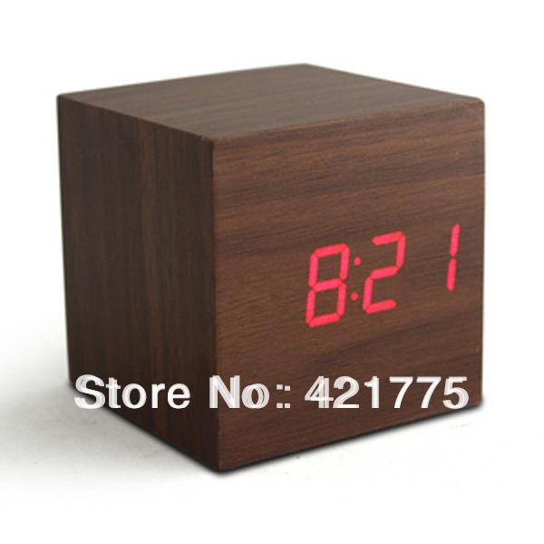 Blanc Led Alarm Clock Led Wood Alarm Clock