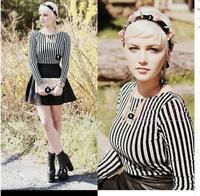 Motel Agnes PU Skirt Dress in White and Black Flocked Stripe