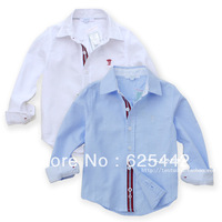 Free shipping 2013 new fashion high quality 100% cotton Oxford silk classic solid color long-sleeve kie's/boy's  shirt  184