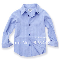 Free shipping 2013 new fashion high quality  100% cotton blue srtipe turn-down collar long-sleeve kid's/boy's shirt  181