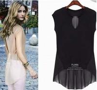 Wholesale New Europe Chiffon Blouses Shirt For Women Summer 2013 Patchwork Short Sleeve Plus Size Fashion Shirt Top Woman