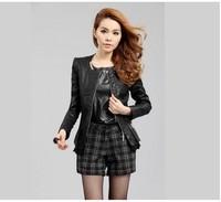 Sell Like Hot Cakes! Free Shipping Lady Fashion imitation Leather Skin Coat M-4XL
