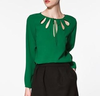 Women's long sleeve blouses with hollow out  0-Neck chiffon shirt  women 2 color #C0182
