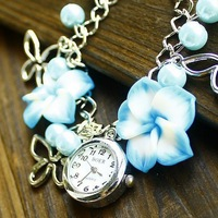Free Shipping European and American jewelry, multicolor cute clay flower bracelet hours, fashion girls quartz watch