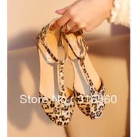 Best Selling!!2013 Summer Women Shoes Fashion T-Strap Leopard Print Flat Heel Sandals Free Shipping