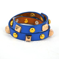 Fashion jewelry rivet punk leather bracelet gift for women wholesale Min order is $10