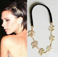 HW-023 Fashion Jewelry For Women 2013  Gold Metal Leaf Olive Branch Style Ribbon Hairwear (Min Order=$10)