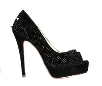 Brand new ladies high heel pump sheepskin platform rivets party sexy women shoes opem toe fashon shoes