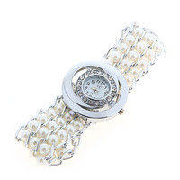 LC Fashion Rhinestone Decoration Analog Watch with Round Dial ladies quartz watch -White,Free Shipping