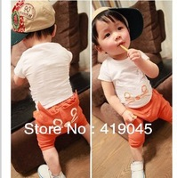 Free Shipping Baby Boys Summer 3D Cat PP pants 100%cotton 2pcs Set Cartoon  Kitty  Outfits Orange Gray 5set/lot-1176