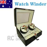 Luxury Gift ALG Black Wood Automatic Quad Watch Winder Display Box