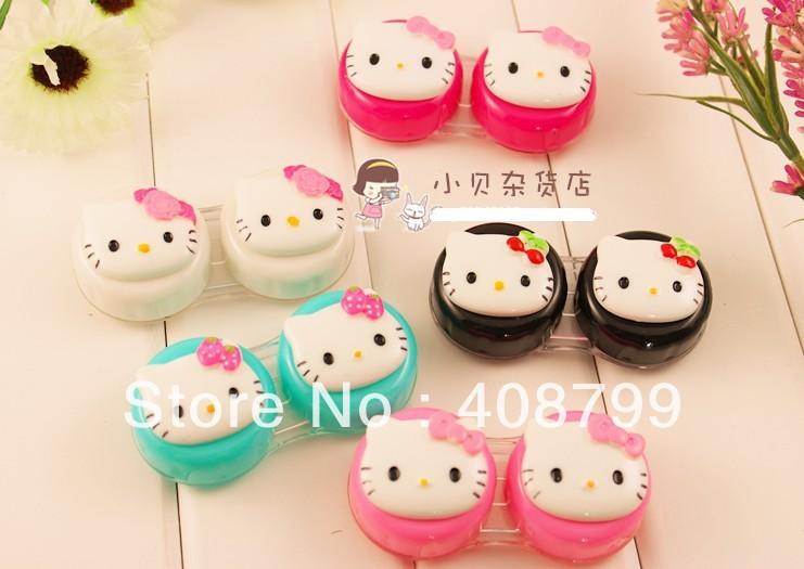 Free shipping New Fashion Cute Kitty contact lenses box / hello kitty contact lens case/ lens Companion box(China (Mainland))