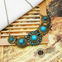 blue turquoise bronze necklace vintage accessories for woman/girls (Min.order is $10 mix order)
