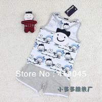 Free Shipping Baby Boys Summer Cartoon 100%cartoon 2pcs set Sleeveless smiling face vest +Short Gray Blue 10Set/lot -1177