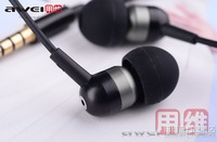 Free shipping Awei ES-Q8i black earphones in deep bass headphones for mobile phone, laptop, computer