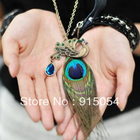 Free shipping (Min order $15)4258 Korea Korean jewelry retro peacock feathers female long paragraph sweater chain necklace over