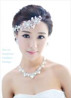 Fashion wedding hair Headband Korean white nice headdress flower+Pearl necklace+Earring 3pcs/lot free shipping