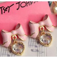 Min. order $9 Fashion  pink elegant bow shine crystal love stud earring female earrings EH308