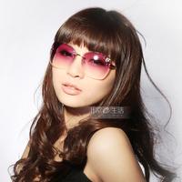 Frameless butterfly sunglasses gradient color sunglasses fashion star female glasses