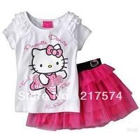 2103 Best Selling Children Kids Clothing Girls Hello Kitty Skirt + T Shirt Short Sleeve Summer Wear