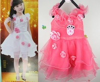 Free shipping 2013 summer children clothing Seven flower children princess dress girls one-piece dress  90-110 3 color 9 pcs/lot